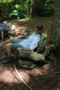 The epitome of trail comfort - stone chairs at the John L. Cantrell home site